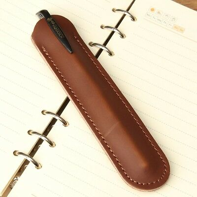 Leather Handcraft Single Pen Pencil Bag Holder Storage Sleeve Pouch Case Brown