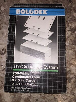 """Genuine Rolodex 250 Blank Rotary Refill File Cards 3"""" x 5"""" C35 White"""