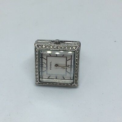 Rare Silver Fossil Ring Watch Es1924 Crystal Bezel Size 7.5