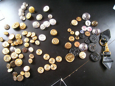 LOT OF 91 OLD ANTIQUE or VINTAGE MILITARY BUTTONS-SILVER & GOLD TONE~REDUCED!