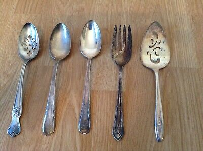 Vintage/antique Lot Of 5 Assorted Silver Plate Serving Flatware