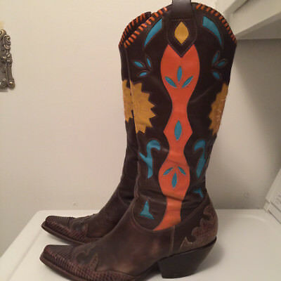 2a19ec4bc6c BCBG WOMEN'S LEATHER Cowboy Boots Multi Colored w/Turquoise, Orange, Gold  Sz. 8