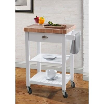 Butcher Block Top Rolling Kitchen Cart Bar Island White W/ Drawer Storage  Shelf