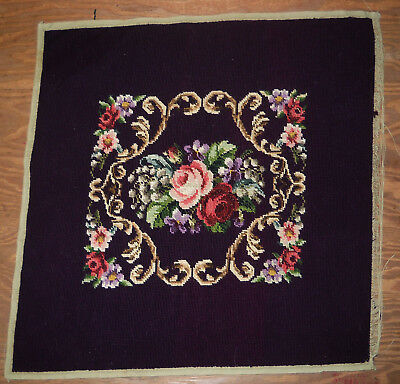 Vintage Purple Needlepoint Chair Seat Cover Floral 21x21 Inches #5