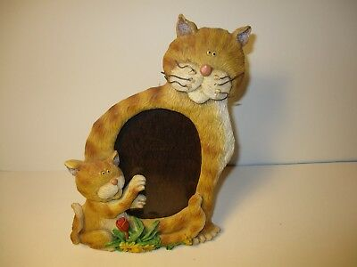 """Cat Shaped Orange Cat & Kitten Picture Photo Frame Holds 3 1/2"""" x 5"""" Photo"""