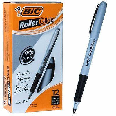 BIC Grip Roller Glide GRE11 31203, Black Ink, 0.7mm Fine Point, Box of 12 Pens