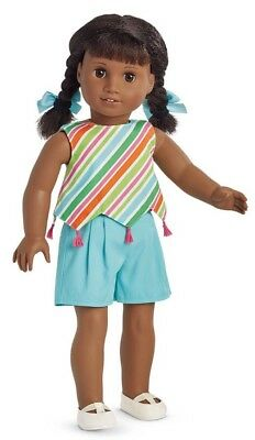 NIB American Girl Melody Play Outfit with Striped Top, Shorts, Shoes, Bows NEW!
