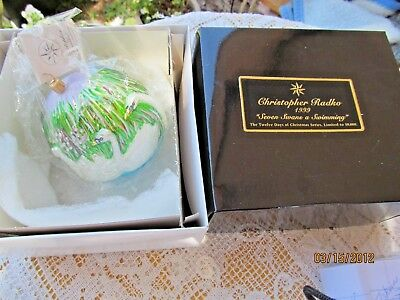 Christopher Radko Glass Ornament Ltd Seven Swans A Swimming 12 Days Of Christmas
