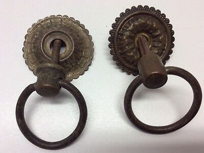 Vintage Brass Drawer Pulls Ring Style Handle Lot Of 2 Dresser Cabinet P1