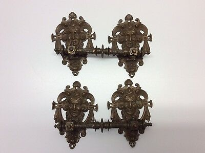 Antique Brass Drawer Pulls Handles And Face Plates Set Of 2 Ornate Early O5