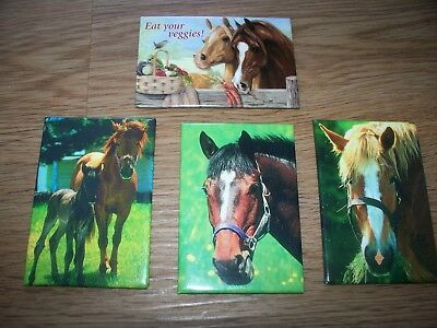 Leanin Tree Pony Mare Foal Thoroughbred Horse Magnet Lot Of 4