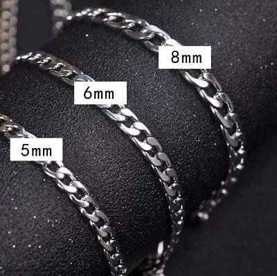 """5""""-8"""" 316L Men Women Stainless Steel Necklace Cuban Figaro Chain with Gift Bag"""