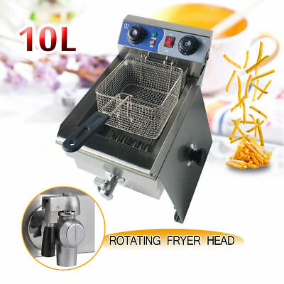 A 10L Fryer Cooker Fry w/ Timer  Drain Stainless Steel Commercial Electric Deep