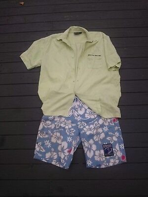 Vintage Retro 80's - 90's surfer gear Byrning Spears shirt & shorts combo XL-S