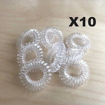 X10  CLEAR Rubber Hair Tie Band Rope Elastic Spiral Bungee Plastic Ponytail Girl