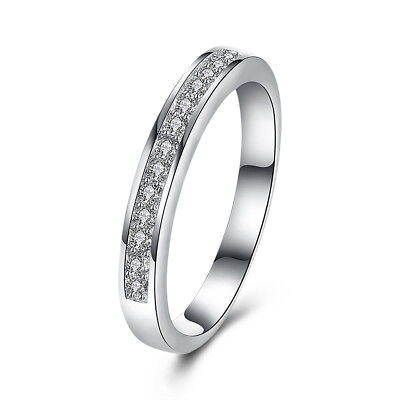 Genuine 925 Sterling Silver Solid Classic Crystal Wedding Engagement Band Ring