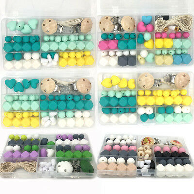 Silicone Teething Beads Kit Box Baby Chew Pacifier Chain Accessorie Teether DIY