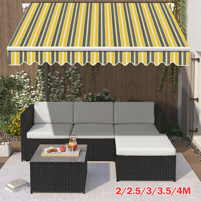 Manual Garden Awning Sun Shade Canopy Retractable Shelter 4x3m 3x2.5m 2.5x2m