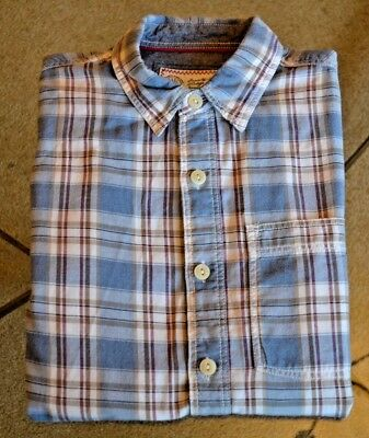 FAT FACE Blue White Red Check Long Sleeve Shirt 'Vintage Washer' Sz Small MENS