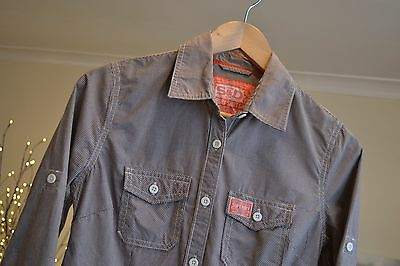 SUPERDRY Check Shirt Vintage Casual Fine Grey  3/4 Sleeve - Sz Small MENS