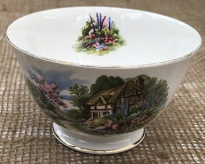 ROYAL VALE 1960s SUGAR BOWL THATCHED COUNTRY COTTAGE GARDEN - GILDED BONE CHINA
