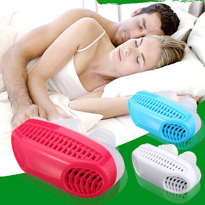 2 In1 Anti Snoring Air Purifier Sleeping Breath Aid Device Silicone Nose Clip