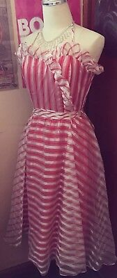 1970s Does 1950s Red Candy Stripe Sweetheart Pinup Tulle Swing Halter Dress XXS