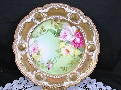 Mz Austria Hand Painted Artist Signed Pink Roses Heavy Gold Display Plate