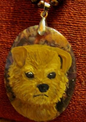 Norfolk Terrier hand painted on oval gemstone pendant/bead/necklace