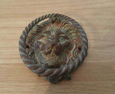 detailed antique brass lions head door knocker