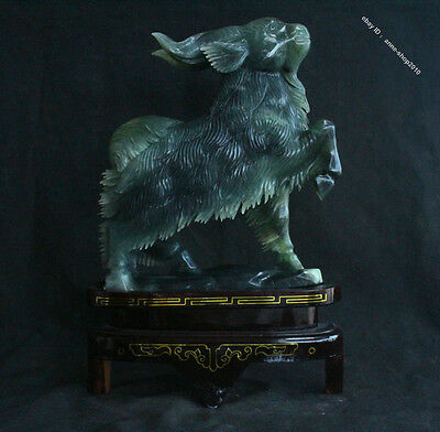 "18"" China 100% Green jade Hand-carving Zodiac Sheep jadeite brush pot"