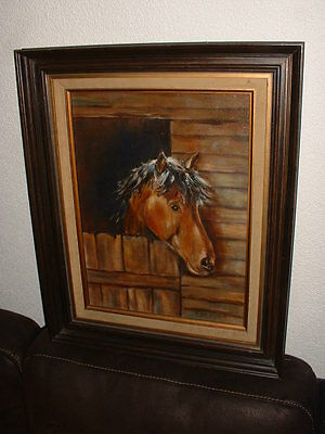 Old oil painting, {The talking Horse- Mr. Ed, Signed  by, V. van Wunnink }.