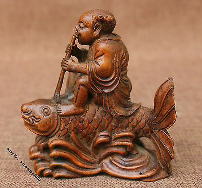 12cm Collect China Bamboo Carved Fish Boy Kid Child Statue