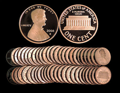 Roll of 50 2008-S Proof Lincoln Cents