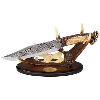 """15"""" Decorative US Bald Eagle Fixed Etched Blade Knife Faux Antler Handle & Stand"""