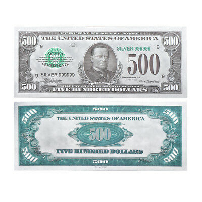 WR US $500 Five Hundred Dollar Colored Silver Foil Banknote Novelty Money Gifts