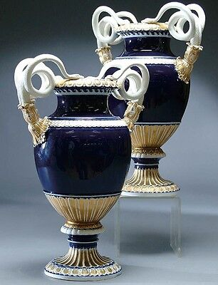 Pair Of Large 19Th Century Meissen Cobalt Blue Porcelain Vases With Snakes!!