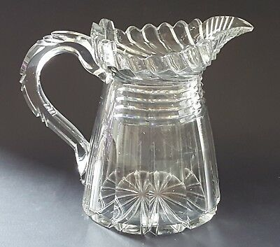 Clear cut glass vintage Georgian antique large water jug pitcher