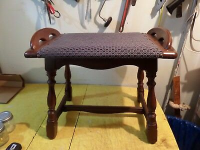 Vintage Mid Century Wood Bench Vanity Stool With Good Upholstery