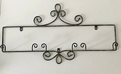 Plate Rack Wall Mount display holder 3 plate Wrought Iron Black Gold Finish  sc 1 st  PicClick & LARGE BLACK Wrought Iron 32\