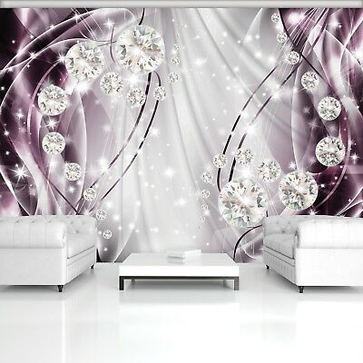 Wall Mural Photo Wallpaper Picture EASY-INSTALL Fleece Silver Violet Abstract