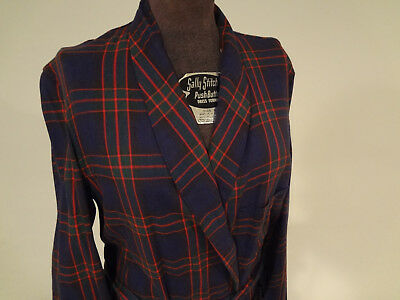 VINTAGE 1950s STATE O MAINE Blue Green Red Plaid Belted 3 Pocket Cotton Bathrobe