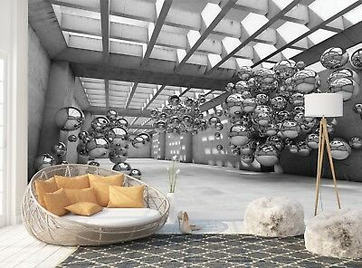 Wall Mural Photo Wallpaper Picture EASY-INSTALL Fleece Grey 3D Abstract Spheres