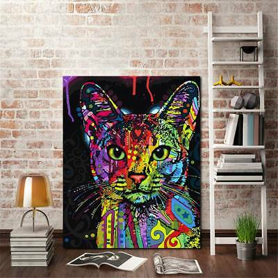 Frameless Huge Wall Art Oil Painting On Canvas Colorful Cat Animals Home Decor