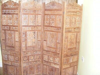 Can Deliver - Beautiful Antique Oriental Hand Carved 4 Panel Screen Room Divider