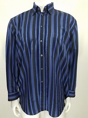 Brioni Dress Shirt Mens XL Blue Black Striped Long Sleeve 100% Cotton Italy