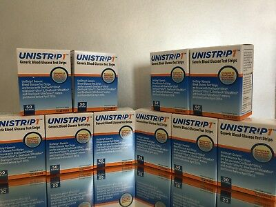 UNISTRIP 1 Blood Glucose 500 Test Strips, 10 BOXES OF 50 EXP 03/21 FREE SHIPPING