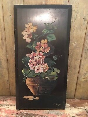 Vintage Signed Geraniums Floral Antique Painting on Wood
