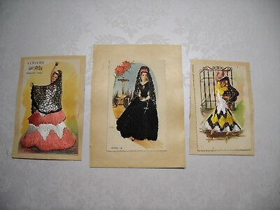Lot of 3 Vintage Mounted Spanish Silk Embroidered Postcards