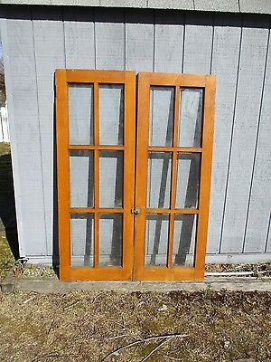 Vintage Hoosier Glass Doors 1 Pair  Stained Not Painted 5 Ft Tall